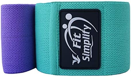 Fit Simplify Resistance Exercise Hip Bands for Legs and Butt, Fabric Workout Bands, Women Men Stretch Exercise Loops, Thick Wide Non-Slip Gym Fitness Bands for Squat Glutes Thigh Training, Set of three