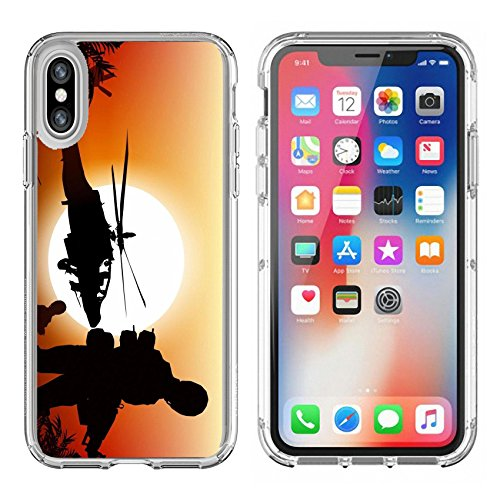 Luxlady Apple iPhone X Clear case Soft TPU Rubber Silicone Bumper Snap Cases iPhoneX IMAGE ID 25191999 Soldiers in Action Marine and Helicopters Sunset Silhouette Background Illustration ()