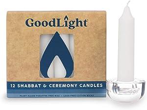 GoodLight Paraffin-Free Shabbat Shabbos Sabbath Candles - Pack of (12) White