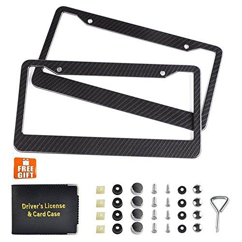 Awindshade Carbon Fiber License Plate Frame 2PCS Black License Plate Frames with Screw Kits, Car Document Holder, Fine Slim, 2 Hole Bracket Standard Size For US Vehicles