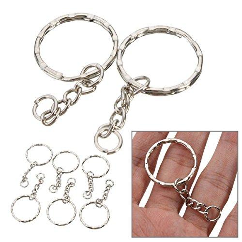 50Pcs Keyring Blanks Silver Tone Keychain Key Fob Split Rings 4 Link Chain (Split Flask)