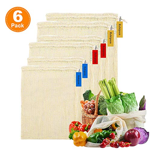 Reusable Produce Mesh Bags Washable Organic Cotton Mesh Vegetables Bag Eco-Friendly Cotton Produce Bags Biodegradable Grocery Bags Breathable for Fruits Set of 6(S, M, L)