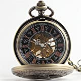Shirleyle Creative Mechanical Pocket Watch Boutique Pentagram Carved Retro Pocket Watch With Chain For Women Men