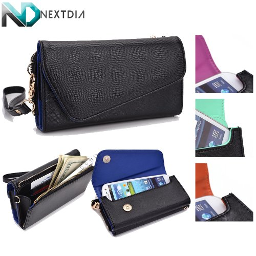 Womens All in One Smartphone Wristlet for iBall Andi 4.5 Ripple 3G | Black and Persian Blue