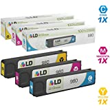 LD Remanufactured Replacement for Hewlett Packard 980 Set of 3 Ink Cartridges Includes: 1 Cyan D8J07A, 1 Magenta D8J08A, and 1 Yellow D8J09A
