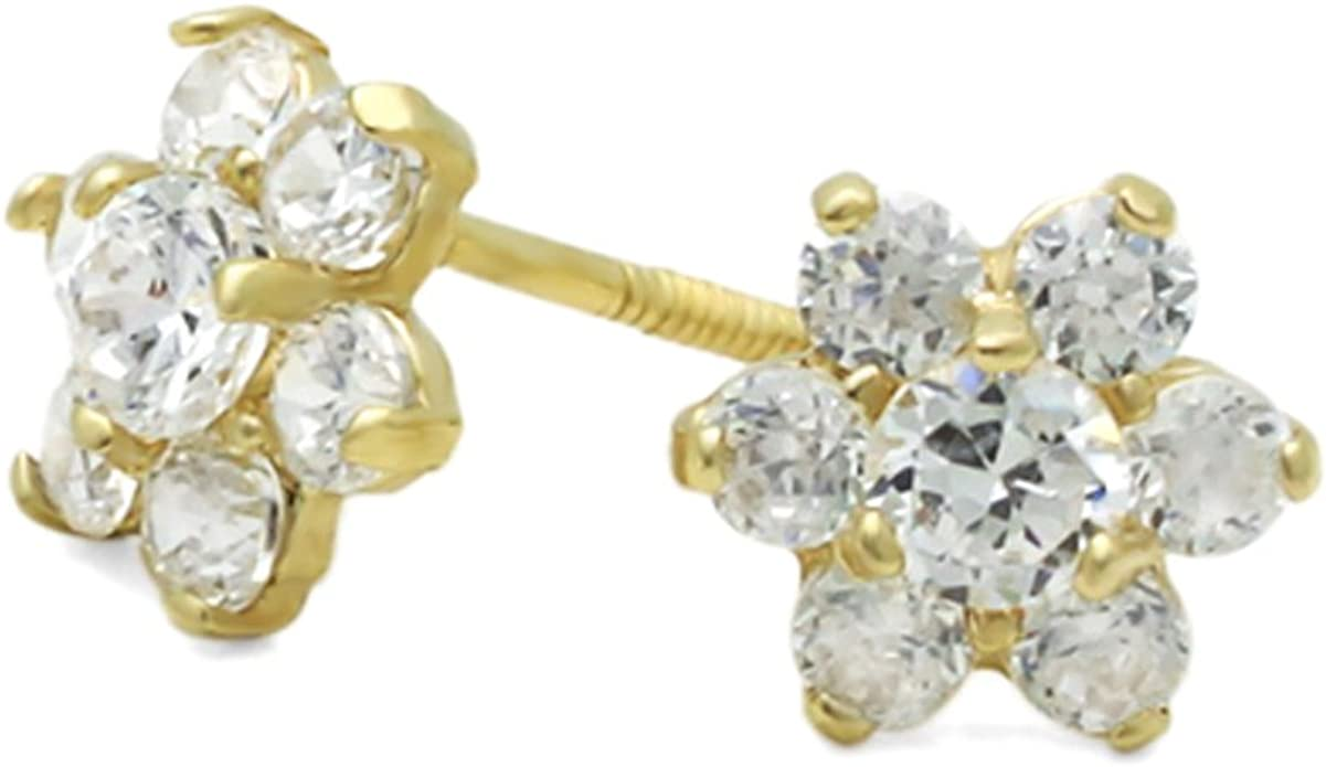 14k Solid Yellow Gold Cz Flower Earring.