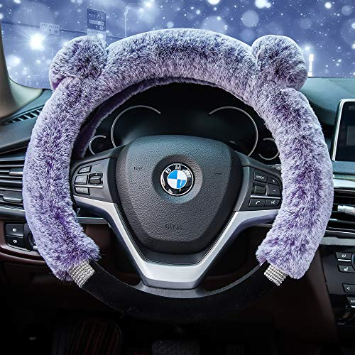 (Didida Winter Warm Faux Wool and Bling Diamond Fluffy Fashion Steering Wheel Covers for Women/Girls/Ladies 15 Inch,Purple)