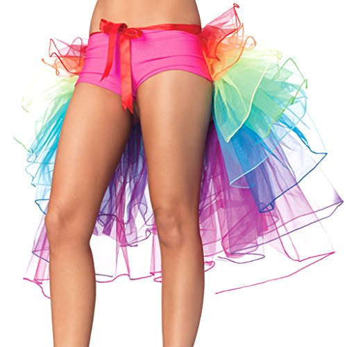 Colorful House Women's Festival Costume Rainbow Bustle Petticoat Party Skirt]()