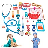 Wooden Toys Doctor Kit for Kids, 24 Pcs Pretend-n-Play Dentist Medical Set Kit Stethoscope with for 3,4,5 Year Old Girls Boys Christmas Holiday Birthday Gift, Doctor Roleplay Costume Dress-Up