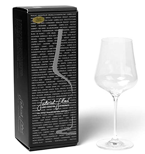 Gabriel Glas - Single Set - Mouth-Blown Austrian Crystal Wine Glass - Gold Edition Featuring a Microfiber Wine Glass Cleaner by The Wine Savant (2 Piece Bundle, Glass Set and Glass Cleaner)