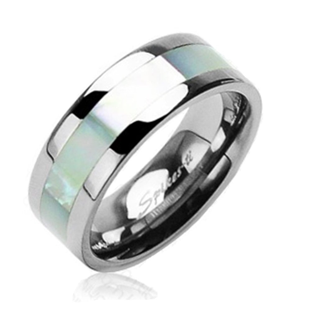 Paula & Fritz Titanium Ring silver 6mm wide Band Ring with Mother of Pearl - Size = 57 (18.1) - [R-TI-0580L_08]