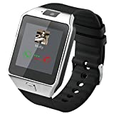 Dz09 Bluetooth Smart Watch All in one, Unlocked Watch Cell Phone, Bluetooth watch for Iphone and Android phones Samsuny Galaxy Note ,TCL, ZTE ,Sony, LG.for Mens and Women (Silver-Black)