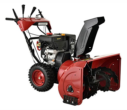 Deep red snow blower with drift cutters.