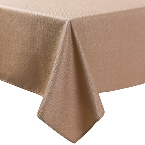 LINENNEE Basketweave Tight Easy Care Elegant Tablecloth 52 x 70-Inch Rectangular Polyester with Miter Corners, Birch
