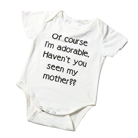 Bestow Bebé recién Nacido niño niño bebé niña Carta Mameluco Trajes Trajes Carta Impresa túnicas Mono: Amazon.es: Ropa y accesorios