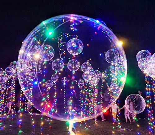 ZAMO 5 Pack 18 Inch Premium Transparent Balloon with Flash String Lights, BoBo Helium Ballons Perfect for Christmas, Birthdays, Graduation, Wedding Parties Decorations