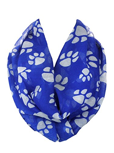 Women's Thin and Light Paw Print Infinity Scarf (Blue Paw Print)