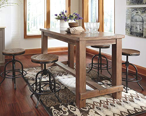 Ashley Furniture Signature Design - Pinnadel Counter Dining Table - Weathered Brown Finish w/ Gray Undertones by Signature Design by Ashley (Image #2)