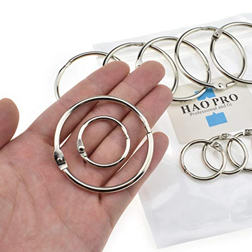 "HAO PRO Extra Thick Loose Leaf Binder Rings 12 Pack 2 Sizes Silver Metal Ring 1"" 2"" Inside Width Paper Holder Key Ring Lager Book Rings for Cards Flashcards Curtains Document Stack and Swatches"