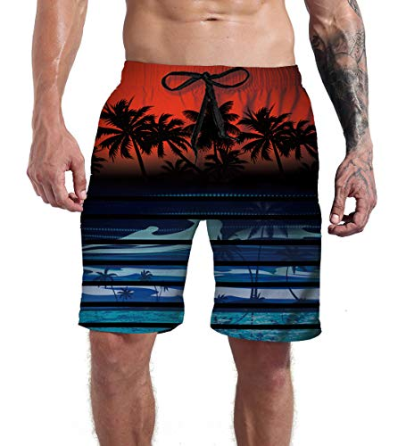Man Swimming Trunks Red Tropical Palm Coconut Tree Beach Swim Shorts Fish Holiday Party Summer Beachwear