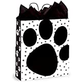Pooch's Paws Paper Shopping Bags - Queen Size - 16 x 6 x 19in. - 100 Pack