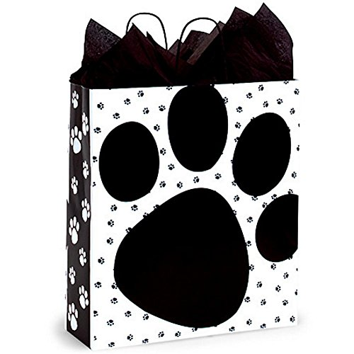 Pooch's Paws Paper Shopping Bags - Queen Size - 16 x 6 x 19in. - 100 Pack by NW