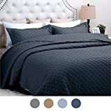 "Quilt Set Solid Navy Blue Full/Queen(86""x96"") Basketweave Pattern Lightweight Hypoallergenic Microfiber ""Simone"" by Bedsure"