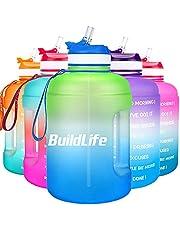BuildLife Drinkfles, 2,2 l, motiverende waterfles met brede opening met rietje en tijdmarkering voor dagelijks drinken, BPA-vrij, herbruikbaar, voor sportschool, sport, outdoor