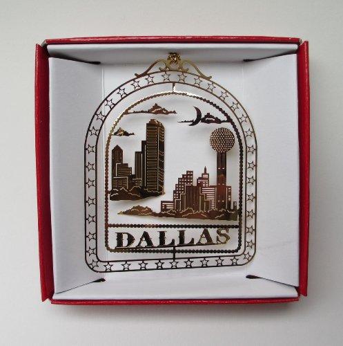 Dallas Texas Christmas ORNAMENT Reunion Tower City Skyline Brass Souvenir Gift ()