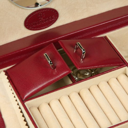 Windrose Merino Schmuckkoffer mit 6 Seitenschubladen 0 rot - 6