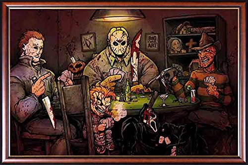 FRAMED Slashers Playing Poker 24x36 Poster Dry Mounted in Ex