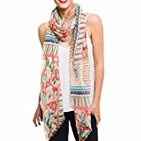 Scarf for Women Lightweight Fashion Beige Red Blue Floral Flower Pattern Summer Fall Scarves Shawl Wraps by Melifluos (SS01)