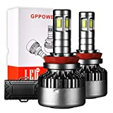 GPPOWER Car LED Headlight Bulbs 4 Side CSP H8 H9 H11 ALL IN ONE Lamp Conversion KIT 100W 12000LM 6000k White Warranty 2year (H8/H9/H11)