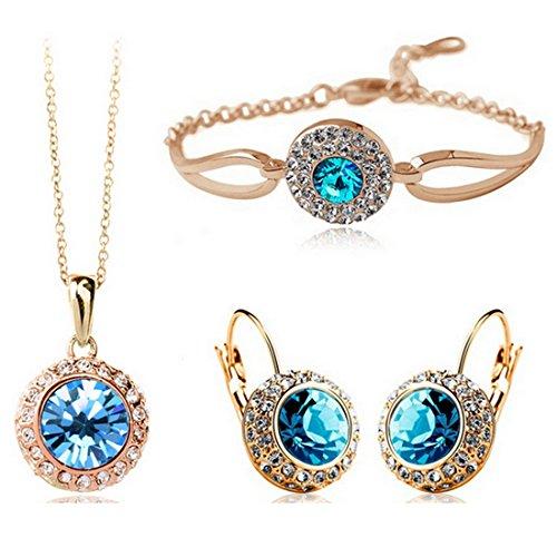 MAFMO Women Fashion Jewelry 18K Gold Plated Crystal Round Shaped Necklace Bracelet Earrings Set (Light Blue)