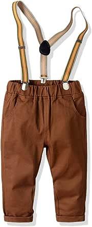 HOSD Pantalones de algodón de Peine de Primavera y otoño Pantalones elásticos para niños Pantalones Delgados con Correa para bebé