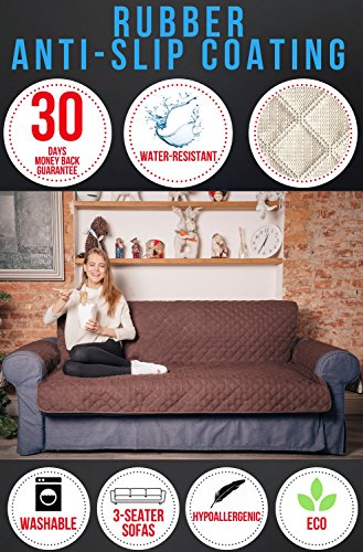 Penatline Sofa Cover with Rubber Anti-Slip Coating. Excellent for Leather Sofas. Heavy and Durable 270 GSM Fabric, Hypoallergenic, Washable, Waterproof, Quilted Pattern, ECO. Free Strap for Fixation.