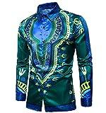 Kankanluck Mens Printing Plus Size Autumn Africa Long Sleeve Shirt Shirt Green M