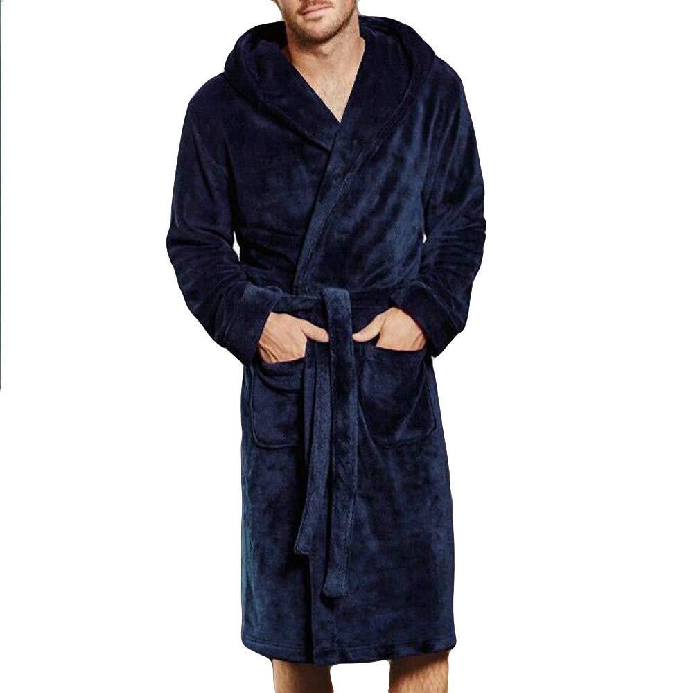 Mens Long Robe Winter Lengthened Coralline Plush Shawl Bathrobe Long Sleeved Robe Coat Tall Bathrobe (Blue, M)