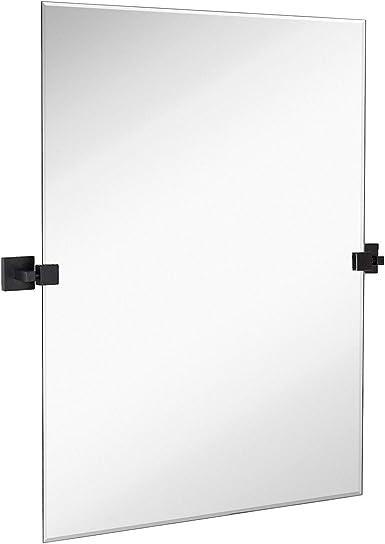 Hamilton Hills 30″ x 40″ Rectangle Square Black Pivot Mirror