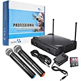 Professional Dual Wireless VHF Microphone System Cordless Handheld Mic Karaoke KTV Home Party Supplies Speakers Gifts