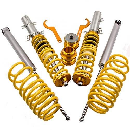 maXpeedingrods Coilovers Lowering Suspension Kits for VW Golf/Jetta MK4, New Beetle 1997-2010, Audi A3 MK1 1.4 1.6 1.8T 2.0 - Yellow ()
