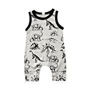 Honganda Toddler Infant Baby Boy Dinosaur Sleeveless Romper Jumpsuit Animal Outfit Summer Clothes (Gray, 0-6 Months)
