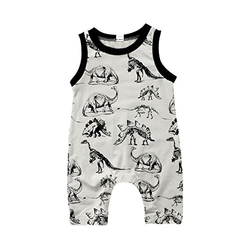 Honganda Toddler Infant Baby Boy Dinosaur Sleeveless Romper Jumpsuit Animal Outfit Summer Clothes (Gray, 12-18 Months)