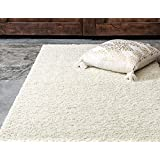 Unique Loom Solid Shag Collection Pure Ivory 9 x 12 Area Rug (9' x 12')