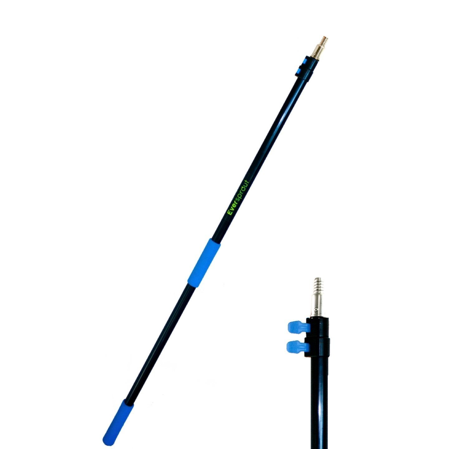 EVERSPROUT 6.5-to-18 Foot Telescopic Extension Pole (25 Foot Reach) | Lightweight, Rust-Resistant Aluminum | 3/4'' Thread Tip works for Twist-On Squeegee, Duster, Paint Roller, Bulb Changer (pole only) by EVERSPROUT