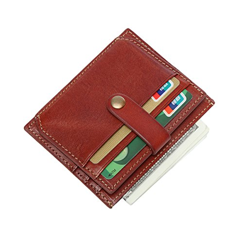 Pocket Wallet Mini Unisex Credit Card Holder with Zipper and Id Window Genuine Leather Durable Slim Wallets Gift Box (Tan) (Tan 5 Id Wallet)