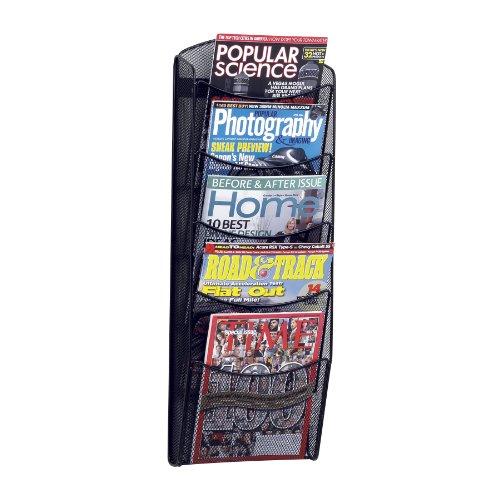 Safco Products 5578BL Onyx Mesh Magazine Wall Rack, 5 Pocket, Black