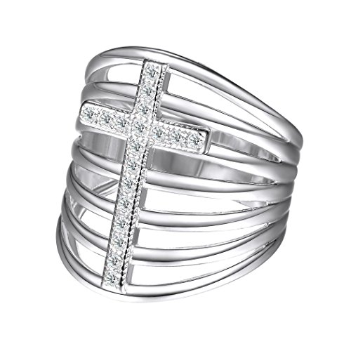 (Suplight Stackable Cross Ring/Statement Ring/Wide Ring White Gold Plated Crystal Cross Ring for Women, Size 8)