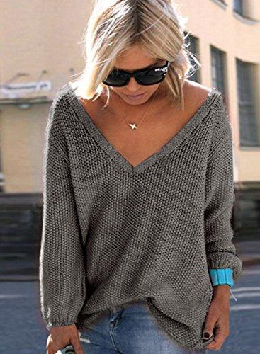 ACHICGIRL Mujer Suéter de Punto Cuello de V Delgado de Moda negro