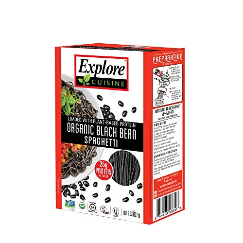 Explore Cuisine Organic Black Bean Spaghetti - 8 oz - High Protein, Gluten Free Pasta, Easy to Make - USDA Certified Organic, Vegan, Kosher, Non GMO - 4 Servings